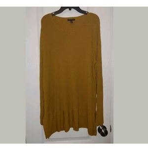 L Eileen Fisher Mustard Ribbed Tunic Sweater